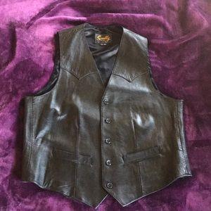 Black leather, silk lined vest.  size 42